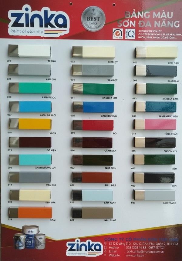 Bảng màu đa dạng của sơn sắt mạ kẽm
